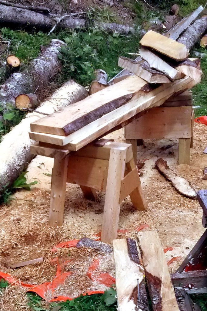The Echo timberwolf has finished its chainsaw work.